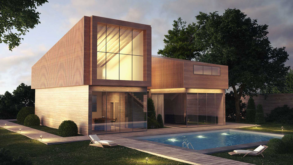 3d Archviz Holz Fassade Haus modern