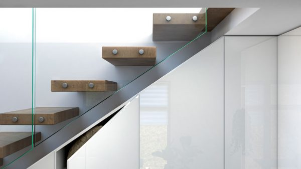 cgi blender stairs glass railing interior