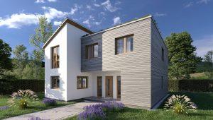 3D Architektur Rendering Haus Vorgarten Planung