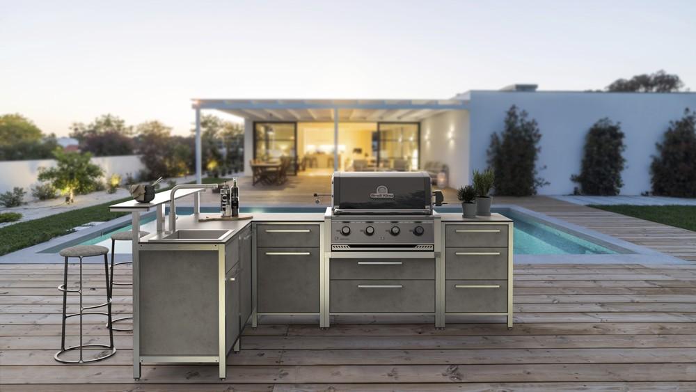 architectural rendering in blender modern living residence outdoor kitchen